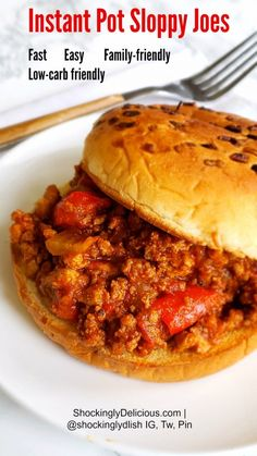INSTANT POT SLOPPY JOES: Few meals comfort like a slightly sweet, slightly tangy, very meaty Sloppy Joe served on a soft, toasted oniony bun. This easy version shaves some cooking time by using the Instant Pot. The aromatics and meat saute in the pot, and then the sauce pressure cooks for a mere 5 minutes before it's ready for prime time — either lunch or dinner. On ShockinglyDelicious.com #shockinglydelicious  #sloppyjoes  #instantpot  #easydinnerrecipes