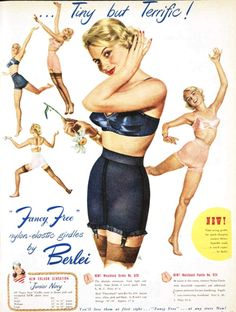 'Fancy Free' girdles, I love this blue shade in 1950s lingerie