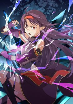 Sword Art Online, Yuuki, by Keiji – Anime Characters Epic fails and comic Marvel Univerce Characters image ideas tips Otaku Anime, Manga Anime, Sword Art Online Asuna, Kunst Online, Online Art, Tous Les Anime, Gurren, Accel World, Anime Kunst