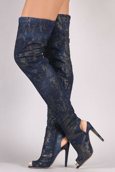 61202f3cb330 These over-the-knee boots feature a metallic splashed denim throughout