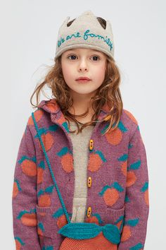 A longer sweater with toggle buttons, hood, and a playful clementine pattern is the perfect sweet layer all season long. Little Girl Fashion, Toddler Fashion, Kids Fashion, Little Girl Style, Kid Styles, Long Sweaters, Kids Wear, Cool Kids, Baby Kids