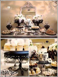 DIY White Vintage Mirror :  wedding arlington crafts decor diy Black W1 Black  White Dessert Bar