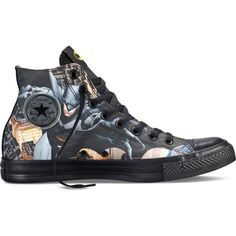 Converse Chuck Taylor DC Comics Batman – black/dolphin/yellow Sneakers ($60) ❤ liked on Polyvore featuring shoes, sneakers, converse, men, black hi top sneakers, black high top shoes, black high tops, converse shoes and converse trainers
