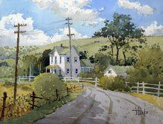 Cambria California Farm Charm an original watercolor painting by Joyce Hicks