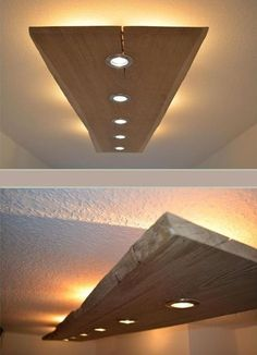 Massiv Holz Design Decken Lampe