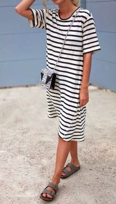 Striped dress + Birks