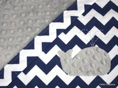 Navy Blue Chevron & Gray Minky Baby Blanket with Whale Applique - Gender Neutral Navy Baby Blanket  - Modern and Handmade - READY TO SHIP on Etsy, $42.50