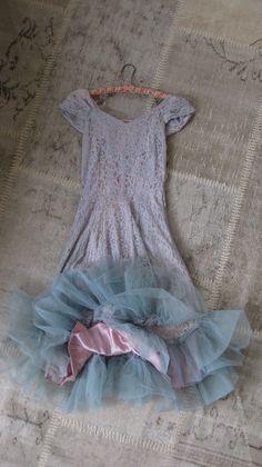 Vintage dress, 1950's, prom dress, lace, satin, tulle, pink, blue, Shabby Chic, romantic prairie by jemsbyjennym on Etsy