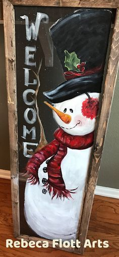Welcome sign snowman huge by RebecaFlottArts on Etsy