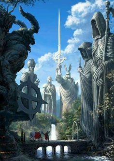 Image from fantasy and syfy. Fantasy City, Fantasy Places, Fantasy Kunst, Sci Fi Fantasy, Fantasy World, Elves Fantasy, Fantasy Artwork, Fantasy Concept Art, Fantasy Landscape