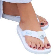 Large Bride Flip Flops - Size 9/10, Women's, White