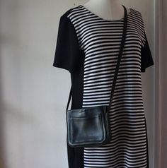 Vintage Black Cross Body Faux Leather Purse. Small shoulder bag. vegan. by blissjoybull