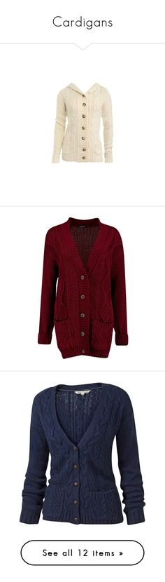 """""""Cardigans"""" by queltada ❤ liked on Polyvore featuring tops, cardigans, sweaters, jackets, outerwear, hooded top, hooded cardigans, chunky cable knit cardigan, chunky cable cardigan and brown cardigan"""