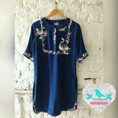 Summer by Priyanka Gupta Embroidery On Kurtis, Kurti Embroidery Design, Embroidery Dress, Machine Embroidery, Saree Blouse Neck Designs, Kurta Designs, Blouse Designs, Dress Designs, Bird Clothing