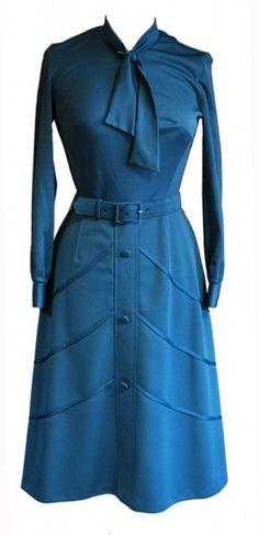 1960s Vintage Berketex Teal Dress & Waistcoat Size 8