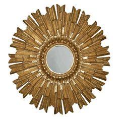 Sunburst Wall Mirror Antique Reproduction, Antique Gold Color Finish