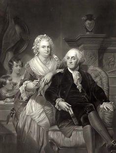 Lithograph of Martha and George Washington. The President and First Lady are pictured seated in their Mount Vernon Estate. Mr. Washington is shown with a book in his hand, and Martha is knitting. The two grandchildren are pictured in the background.