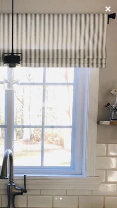 Faux Roman Shade Valance in Navy Blue, Black or Grey & White Ticking Stripe, Custom Made Modern Farmhouse Kitchen Valance, Fully Lin – Curtains Decor, Farmhouse Windows, Home, Kitchen Window Treatments, Farmhouse Window Treatments, Window Design, Modern Farmhouse, Ticking Stripe, Modern Farmhouse Kitchens