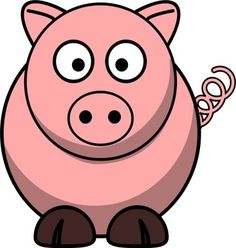 Vector drawing of cartoon pig with twisted tail National Pig Day, Pig Png, Farm Animals, Cute Animals, Pig Drawing, Cartoon Drawings, Cartoon Pig, Cute Gifts, Online Art