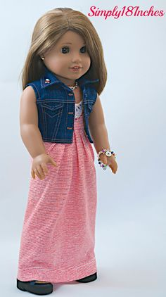 American Girl Doll Clothing. Knit Maxi-Dress, Cropped Denim Vest-Jacket, Purse, Charm Bracelet and Necklace