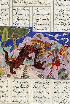 Rustam's trial: killing the dragon (with the help of his horse Raksh). Illustration from Persian epic poem, Shahnama. Medieval Dragon, Myths & Monsters, Dragon History, Ancient Persia, Dragon Images, King Book, Iranian Art, Art Costume, Illuminated Manuscript