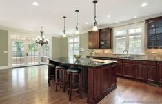New kitchen paint colors with dark wood cabinets sinks Ideas Cherry Wood Kitchen Cabinets, Cherry Wood Kitchens, Dark Wood Kitchens, Dark Wood Cabinets, Wood Floor Kitchen, Cherry Kitchen, Painting Kitchen Cabinets, Kitchen Flooring, Home Kitchens