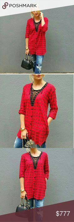 ❤JUST LISTED❤LACE UP PLAID TUNIC TOP Brand new no tags Boutique item   Sexy red and black plaid print top featuring lace up detailed neckline. Pair with jeans or wear with thigh high boots. On trend and super sassy!! Wear as a top or as a daring mini dress!   Plaid print lace up vegas party cruise trendy popular sexy sassy dress tunic top Tops Tunics