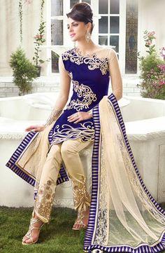 USD 116.44 Royal Blue Velvet Designer Salwar Kameez 42923
