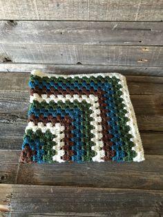 Crochet Granny Square Blanket Afghan Crochet Blanket by KKandCo
