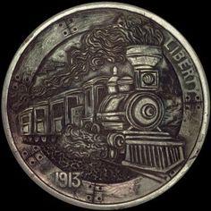 "1913 Hobo Nickel ""Hobo Train"" by Paolo Curcio aka mrthe"