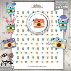 Camera Stickers, Planner Stickers, Picture Stickers, Photography Stickers, Printable Planner Stickers, Kawaii Stickers, Erin Condren