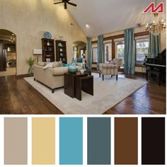A splash of color can make all the difference in a room. A pop of bright color is all you need sometimes to turn a plain room into something worthy of a 417 Home spread. Here are a few color palettes from homes on the market now in Springfield. Good Living Room Colors, Living Room Color Schemes, Small Living Rooms, Living Room Decor, Home Goods Decor, Home Decor, Modern Color Schemes, Living Room Inspiration, House Colors