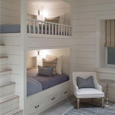 Bunk beds don't have to be dangerous or scary when you have practicality, beauty like this all rolled in one! A great way to add storage for toys beneath beds as well as hidden in the staircase. Thanks Sophie Metz for this gorgeous room found on Pinterest. . Happy Tuesday!  Are you following us on Pinterest yet? If not, get on it and start drooling! {LINK IN PROFILE}