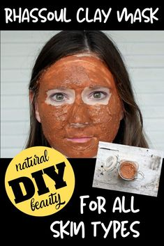 Homemade facial masks for acne prone, dry & even sensitive skin. Make this DIY Rhassoul Clay Mask Recipe with essential oils for all skin types -- including acne prone, oily, dry skin, sensitive skin & maturing skin. This natural Rhassoul clay mask recipe makes a lovely addition to your natural beauty regimen for glowing, healthy looking skin. Add this DIY clay face mask recipe to your natural skin care routine for soft beautiful skin. A great facial care product you can make at home. #skincare