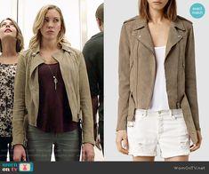 Laurel's suede jacket on Arrow.  Outfit Details: http://wornontv.net/53396/ #Arrow
