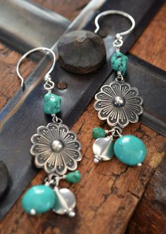 Sterling silver floral conch earrings with turquoise nugget drops Southwest Western by Purrrls on Etsy