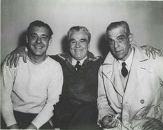 "Behind the scenes of ""house of frankenstein"". Lon Chaney jr, Karloff http://nikkitaylorhinds.tumblr.com/post/110859309007/universalmonsterstribute-lon-chaney-jr-and"
