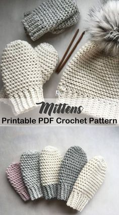 Cozy Mittens Crochet Patterns – Great Cozy Gift - A More Crafty Life -crochet mitten pattern Crochet Mittens Pattern, Crochet Beanie, Knitting Patterns, Crochet Patterns, Crochet Baby Mittens, Knitting Tutorials, Hat Patterns, Loom Knitting, Knitting And Crocheting