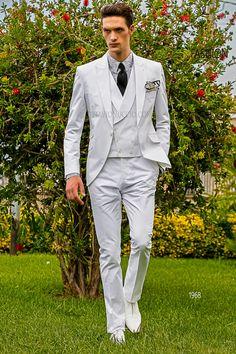Slim fit white cotton groom suit  #luxury #menswear #wedding #tuxedo #summerweddings #hipster #menstyle #dapper #stylish
