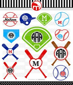 Baseball SVG Cut Files - Monogram Frames for Vinyl Cutters, Screen Printing, Silhouette, Die Cut Machines, & More