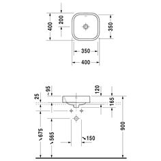 Main bathroom: Duravit Happy D.2 counter basin 40 cm - MEGABAD