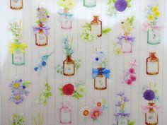 Koreanische Blume & antike Flasche Sonderausgabe Aufkleber - romantischen Blumenstrauß Garten - Tee Rosen und Lilien - Mütter Pfingstrosen - Gänseblümchen - lila