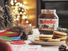 Christmas Biscuit Sandwich with Nutella Biscuit Nutella, Biscuit Sandwich, Christmas Biscuits, Nutella Recipes, Creative Food, Biscotti, Sandwiches, Food And Drink, Xmas