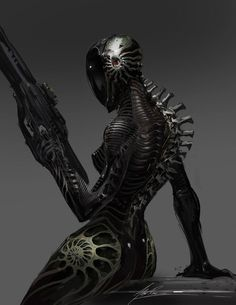 Assassin cyborg unit by AlexRuizArt Character Concept, Character Art, Concept Art, Sci Fi Fantasy, Dark Fantasy, Nono Le Petit Robot, Science Fiction, Arte Robot, Ex Machina