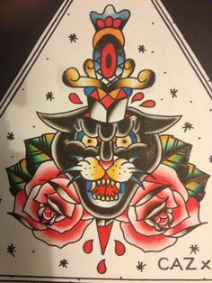 Late night paint #panthertattoo #traditionaltattoo #oldschooltattoo