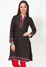 Flaunt sartorial elegance as you wear this kurti, in black colour, from the house of BIBA. Exclusively designed, this kurti with regular fit will enhance your curves and soft cotton will keep you comfortable.