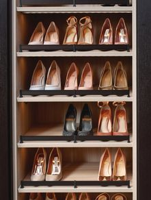 Great visibility, but looks like it would take up too much space per pair of shoes.  Walk-in Closet | California Closets