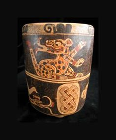 Mayan Painted Cylindrical Vessel - Origin: El Salvador Circa: 300 AD to 900 AD