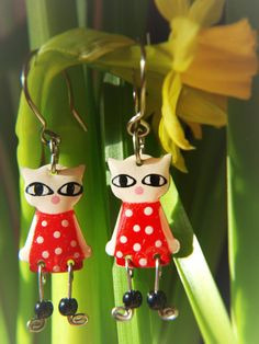 Adorable Enameled Stainless Steel Playful Cat Dangle by CinkyLinky