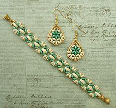 Linda's Crafty Inspirations: Bethany Earrings - Ivory & Aqua